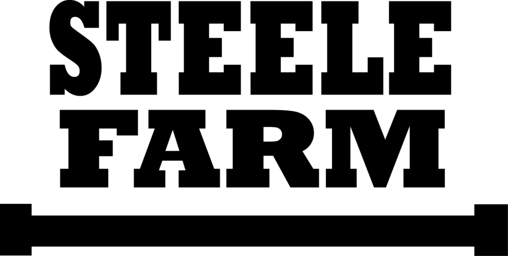 Black and white logo that reads Steele Farm with bar under words
